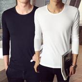 修身 圆领T恤紧身上衣服男装 运动纯色打底体恤衫 韩版 冬季加绒长袖