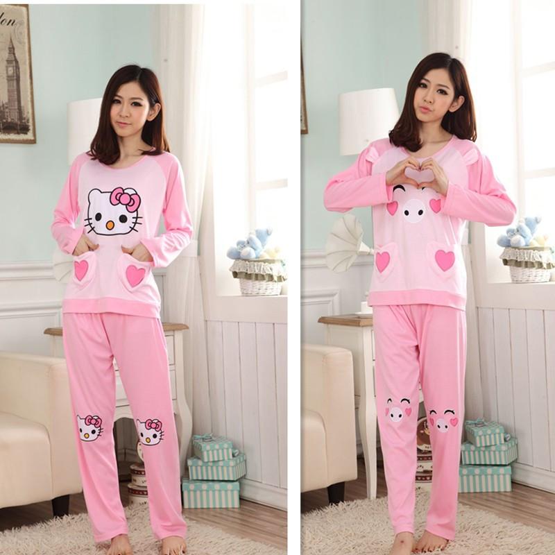 粉红猪睡衣少女秋冬长袖纯个性棉学生可爱爱心卡通KT猫套装家居服