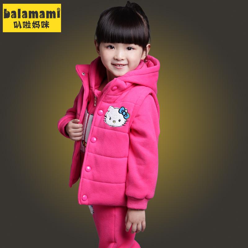 冬季童装 2014婴儿棉衣女童套装加绒加厚宝宝卫衣开衫保暖三件套