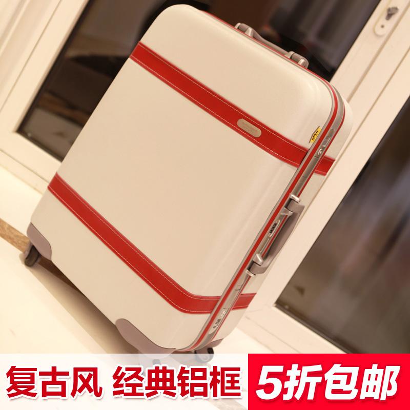 范塔戈萝复古可爱白旅行箱包行李箱皮箱登机箱万向轮女 拉杆箱 潮