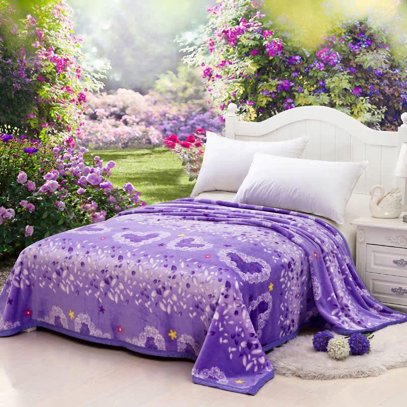 艾爱家纺 超柔法莱绒毛毯 狐貂绒加厚床单毯子午睡学生毯被 特价