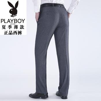 灰色西裤男宽松夏季薄款花花公子