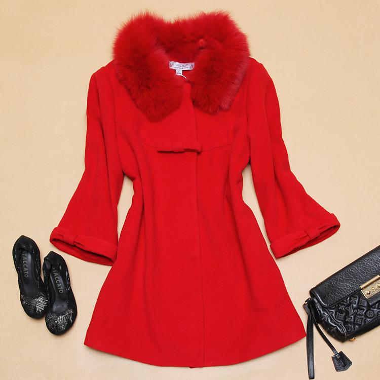 新款呢子羊绒大衣欧美大牌秋冬蝴蝶结大狐狸毛领红色羊毛呢外套女