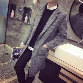 秋冬装装时尚休闲英伦青年中长款男士风衣潮韩版宽松呢子大衣外套