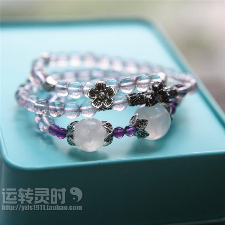 【运转灵时】原创天然巴西紫水晶多层女士手链项链定制礼物女士