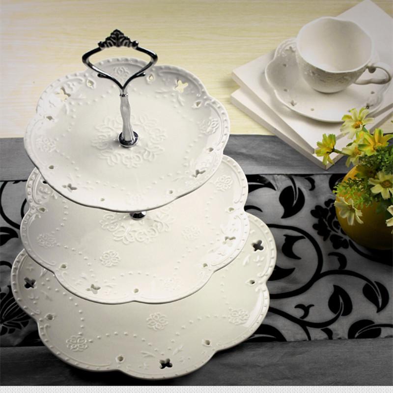 包邮欧式陶瓷三层盘 水果盘 蛋糕盘 蛋糕架 下午茶点心盘 托盘