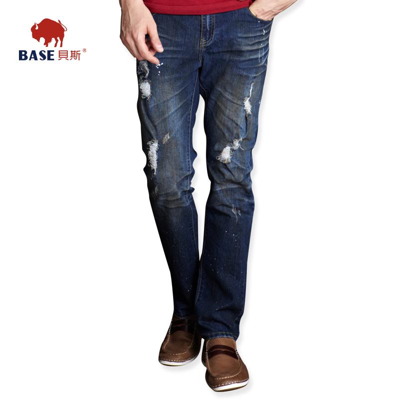 贝斯男装新款品牌牛仔长裤微弹复古做旧破洞修身小脚男牛仔裤 男