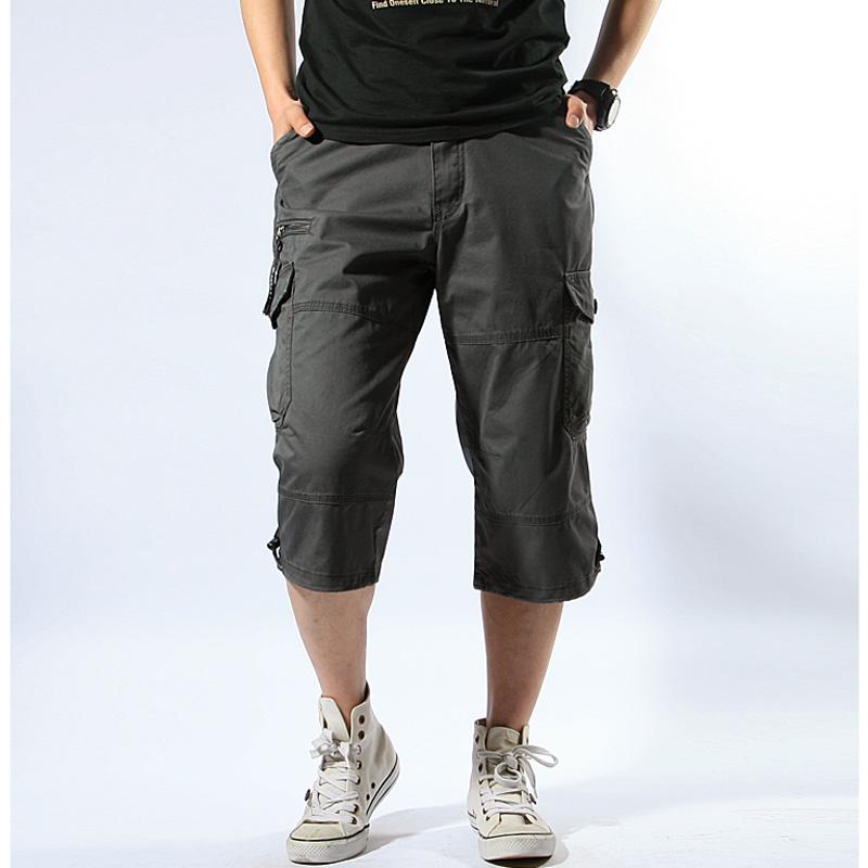 夏天工装裤子薄款宽松短裤男式多口袋中裤户外休闲运动型七分裤男