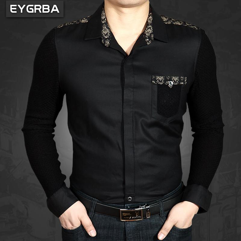 爱格堡男士衬衫冬季加绒款商务保暖男长袖黑色加厚免烫衬衣爸爸装