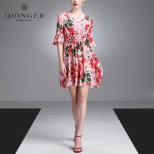 2017夏季新款女 重磅真丝100%桑蚕丝时尚气质印花V领中长款连衣裙