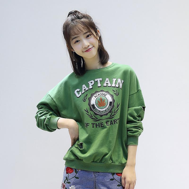 8003#夏季新款韩版女装宽松显瘦图案印花圆领套头破洞卫衣女学生