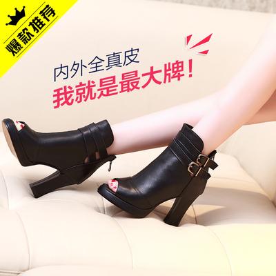 [新年价] 吉菲儿2016春新款鱼嘴鞋高跟粗跟鱼嘴短靴真皮罗马靴防水台女单靴