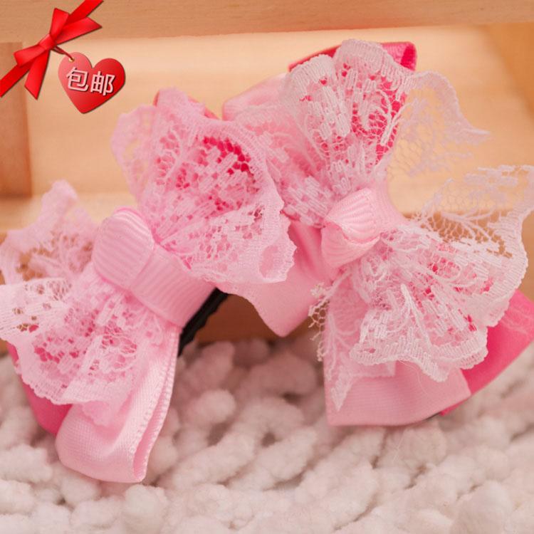 全店满9.9包邮新款粉色浪漫双蝴蝶结宠物发夹饰品狗狗泰迪发饰
