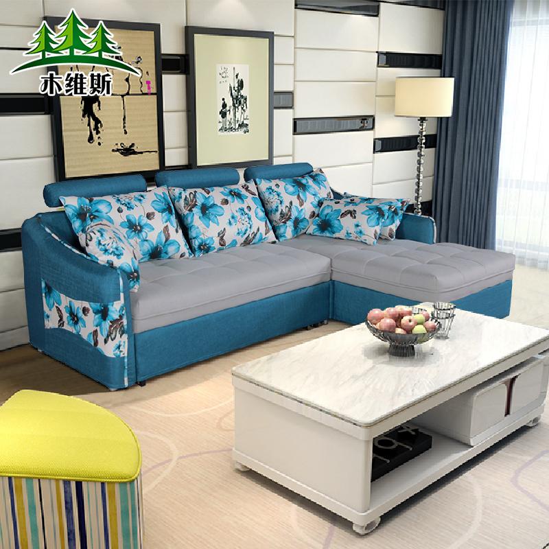 组合沙发床小户型多功能折叠布艺实木组合储物沙发床