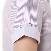 职业正装蓝色竖条纹衬衫女工作服短袖夏大码修身工装工作衬衣女装