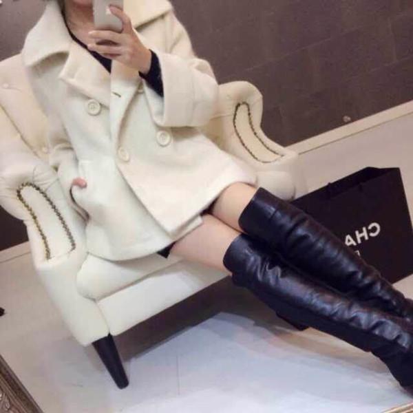 秋冬滩羊毛韩版自制新款大衣外套翻领显瘦毛呢斗篷娃娃衫小外套短