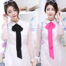 长条丝巾项链细窄围巾短款小领巾女韩国雪纺夏季飘带领带装饰
