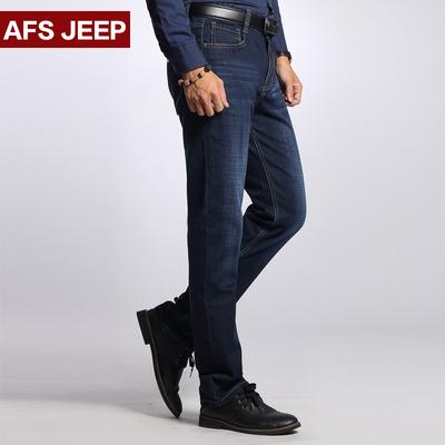 战地吉普牛仔裤男秋冬季弹力加厚直筒休闲大码青年男士牛仔长裤