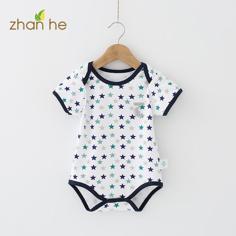 连体夏季衣服春秋纯棉新生儿宝宝短袖包屁衣三角爬爬服婴儿