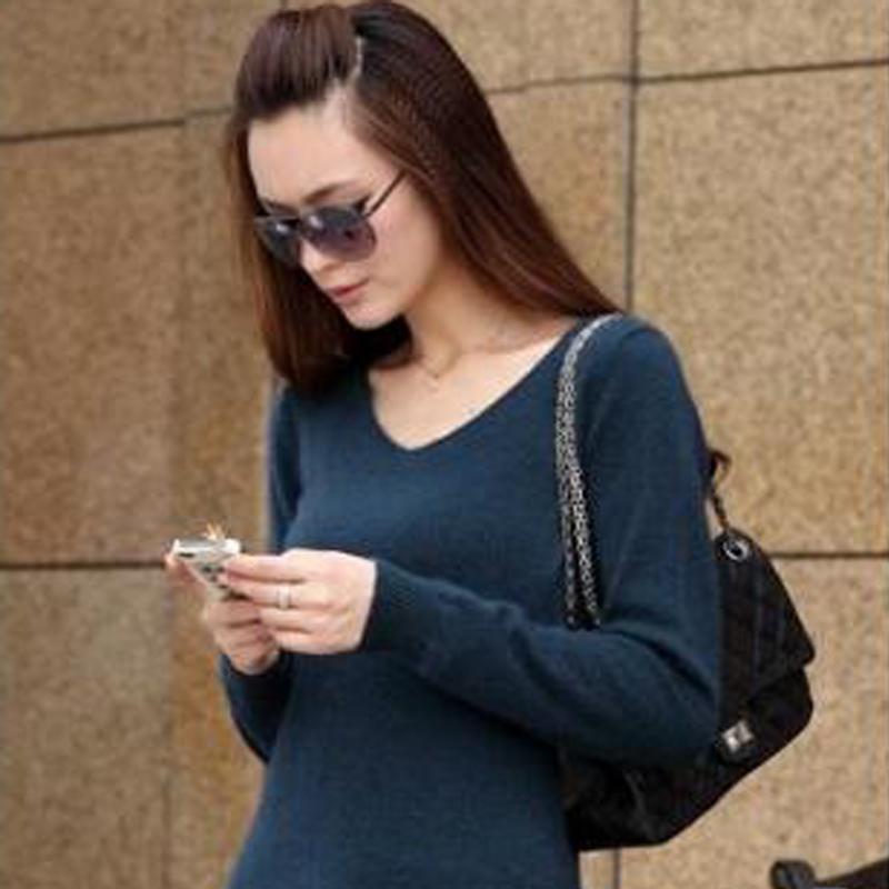2014新长款V领羊绒衫女装秋冬针织衫套头毛衣修身打底衫