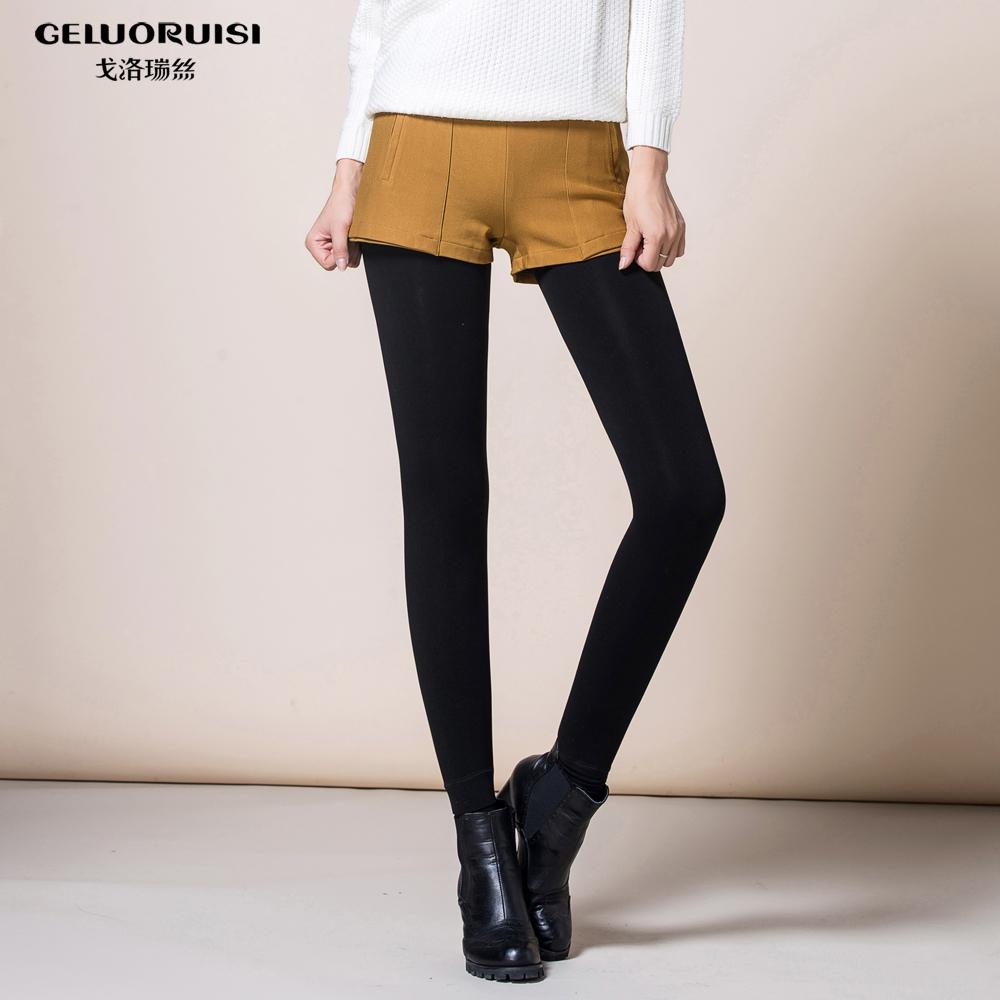 戈洛瑞丝女裤2014秋冬季新款女装打底裤加绒加厚踩脚假两件短裤女
