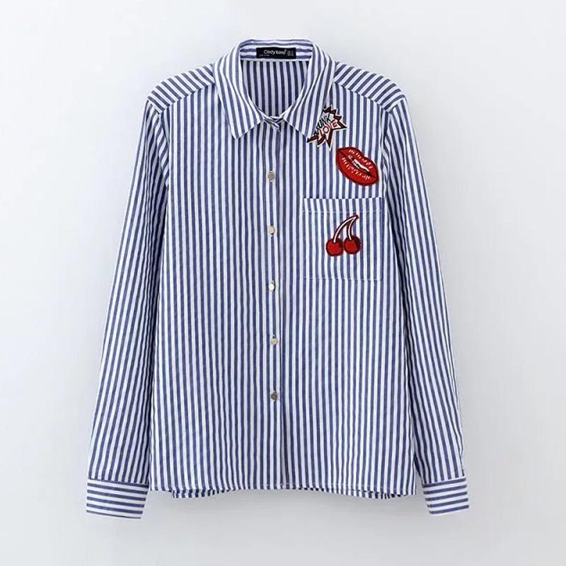 T2607春新款2017女装红唇樱桃刺绣贴布宽松条纹衬衫翻领衬衫