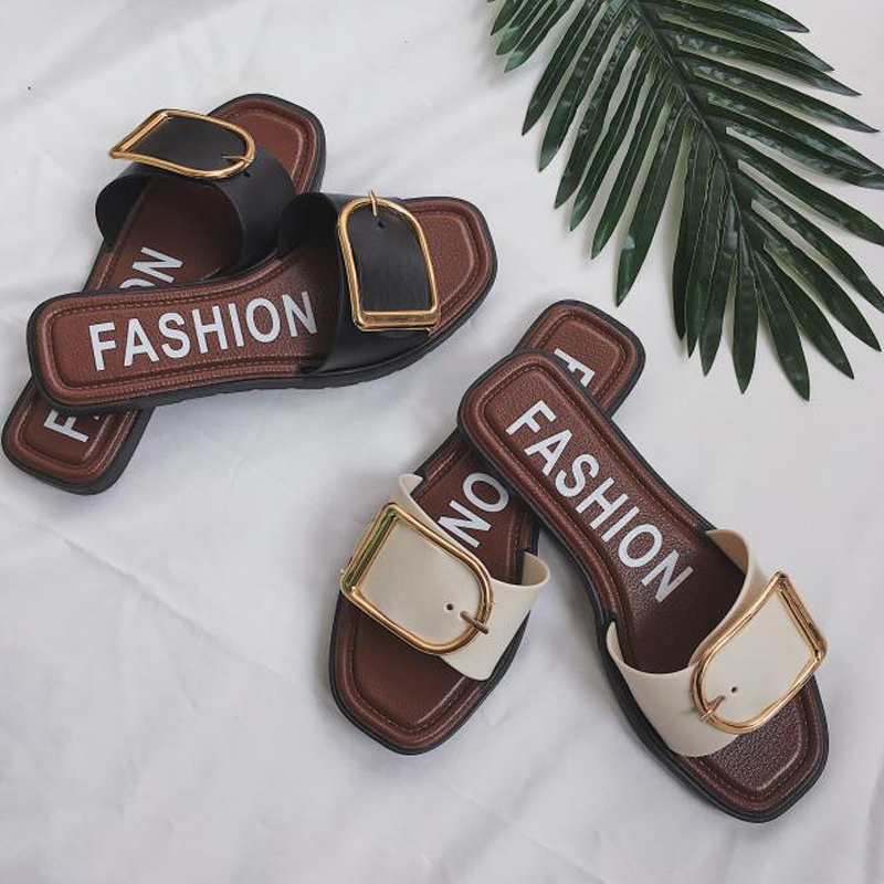 皮带扣金属平底鞋拖鞋室外防滑扣一字拖春装