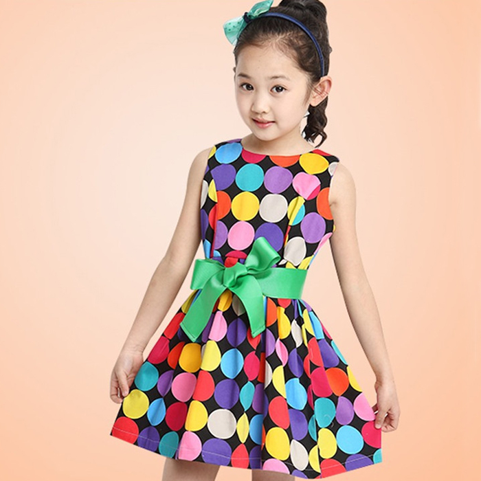童装2015新款韩版女童夏装圆点裙子中大童儿童公主连衣裙背心裙潮