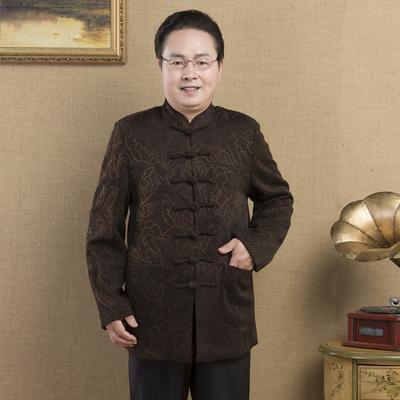 中老年唐装春秋装男士唐装上衣爸爸装中式服装老人唐装秋季外套