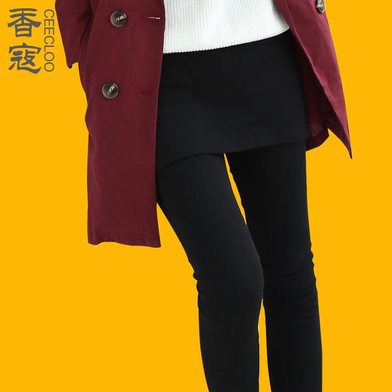 显瘦外穿超厚加厚保暖加绒假两件打底裤裙裤秋冬款高腰小脚裤女裤
