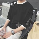 2件装】短袖T恤男7七分袖夏季宽松半袖上衣服5五分袖中袖韩版潮流