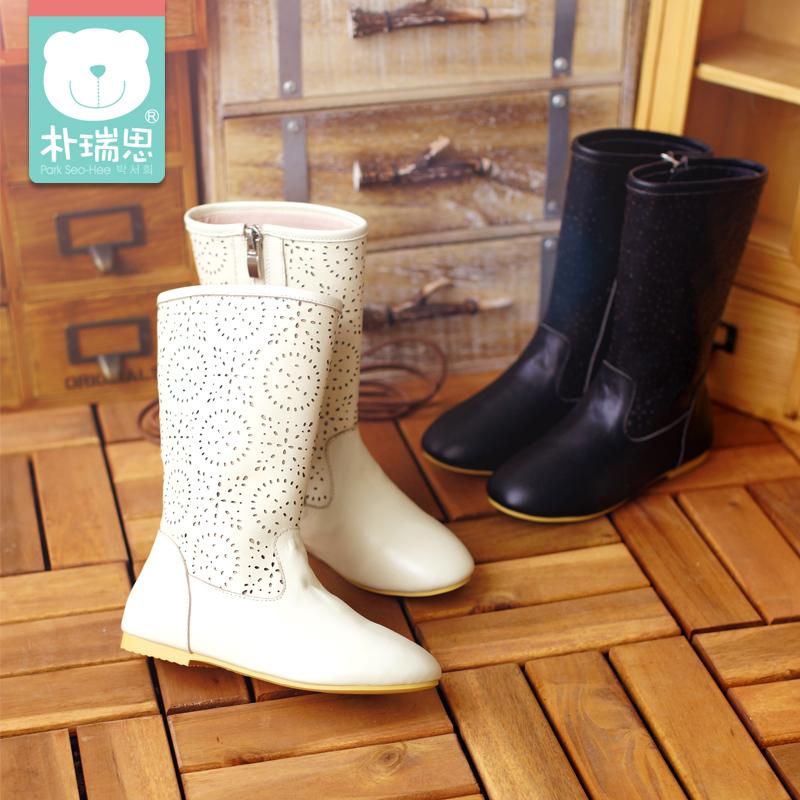 朴瑞思 女童高筒靴 韩版2014秋冬新款儿童真皮靴子中大童单靴长靴