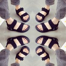 凉鞋女夏季2017新款女鞋平底百搭韩版学生软妹原宿风学院沙滩运动