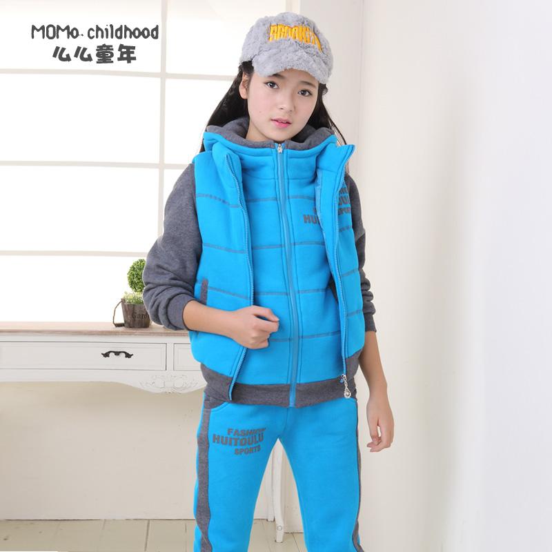 包邮童装女童冬季2014新款潮儿童女大童加厚卫衣三件套装12-15岁