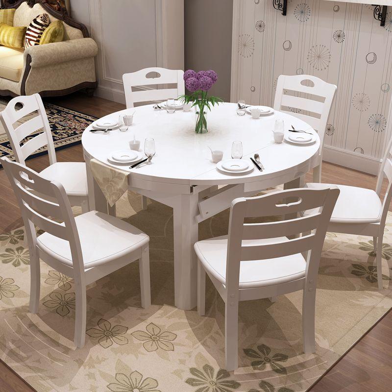 实木餐桌椅组合6人欧式餐桌白色伸缩折叠餐桌可拉伸