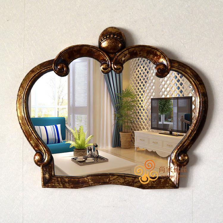 欧式法式宜家美式皇冠造型玄关壁挂装饰镜浴室卫浴