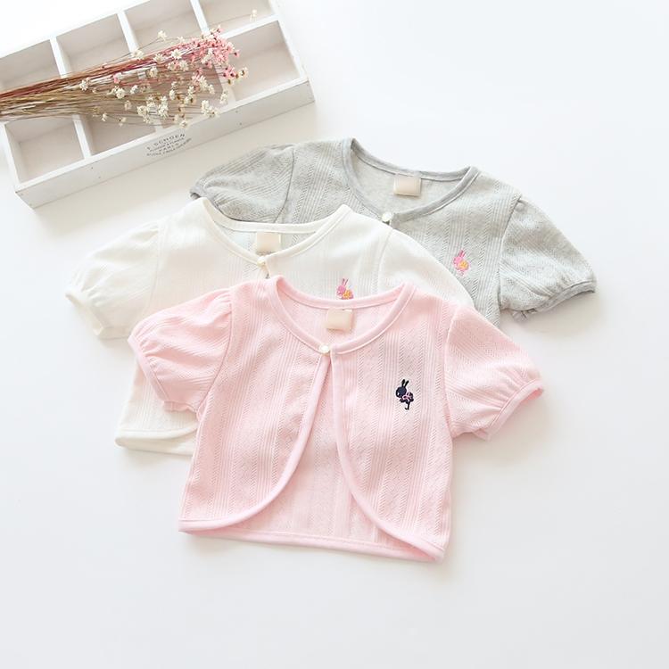 2016新款童装 夏装儿童 女童休闲纯色一粒扣兔子 短袖披肩外套