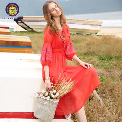 春装2017新款女红色灯笼袖雪纺连衣裙显瘦海边度假沙滩裙长裙女夏