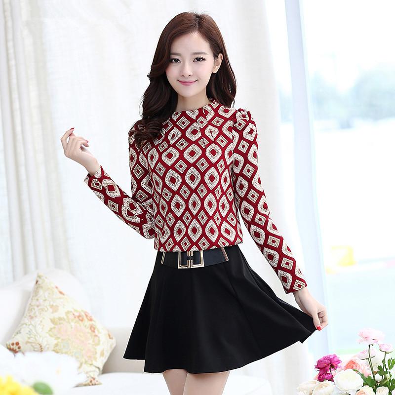春秋新款韩版时尚拼接气质淑女长袖大码修身显瘦假两件打底连衣裙