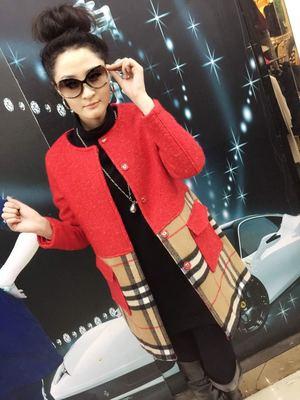 [双节大促] 2015年金角添琦大码女装冬季最新款 圆领插兜显瘦羊毛大衣外套