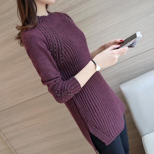 2017秋冬季新款韩版女装钉珠中长款打底针织衫宽松毛衣女套头包臀