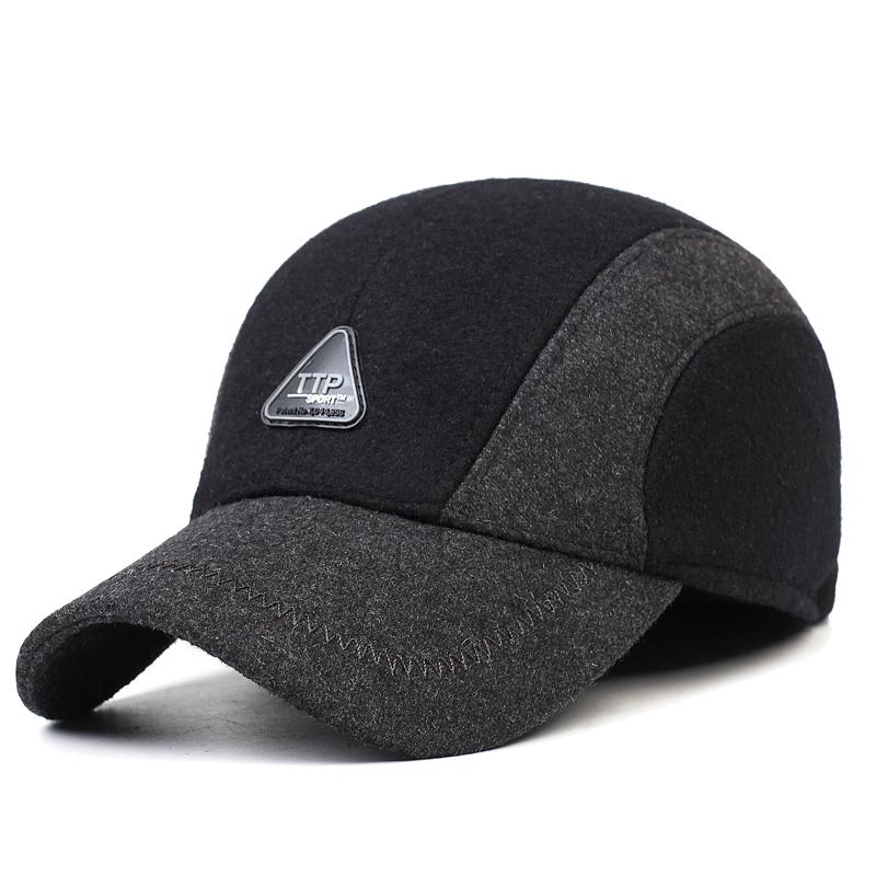 帽子男士冬天中年棒球帽户外保暖鸭舌帽秋冬季护耳中老年爸爸帽子