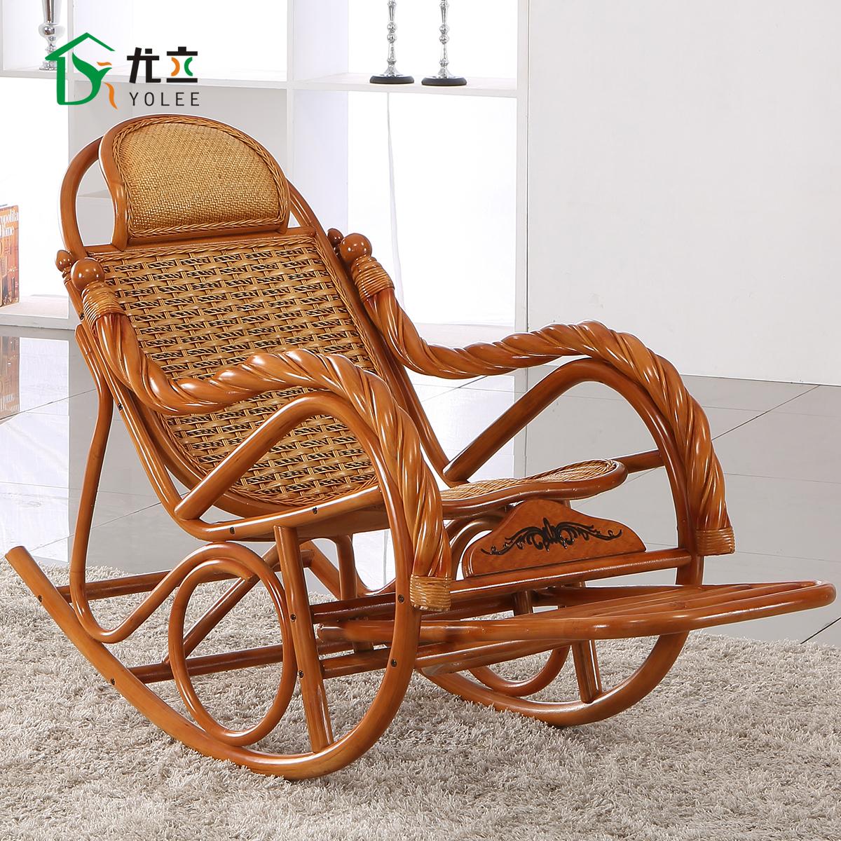 尤立摇摇椅躺椅折叠椅午休椅阳台逍遥椅印尼天然藤椅藤摇椅特价