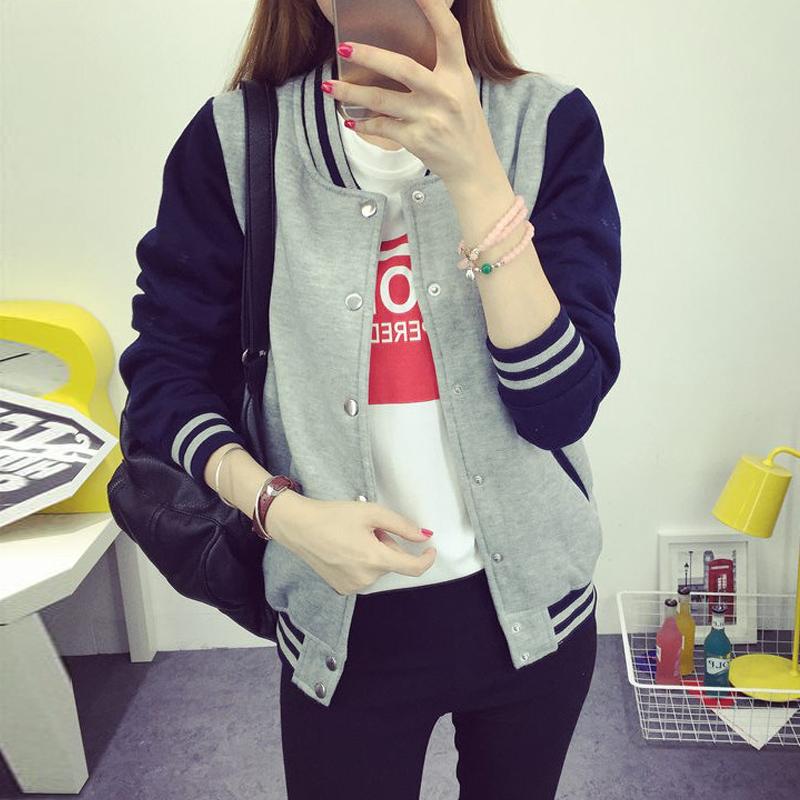 韩版2016新款棒球服女春秋短款学生上衣服学院风显瘦薄款外套女潮