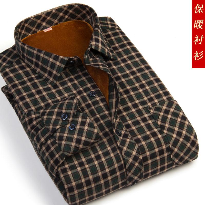 秋冬款中老年爸爸装男士加绒加厚保暖衬衫男大码休闲格子保暖衬衣