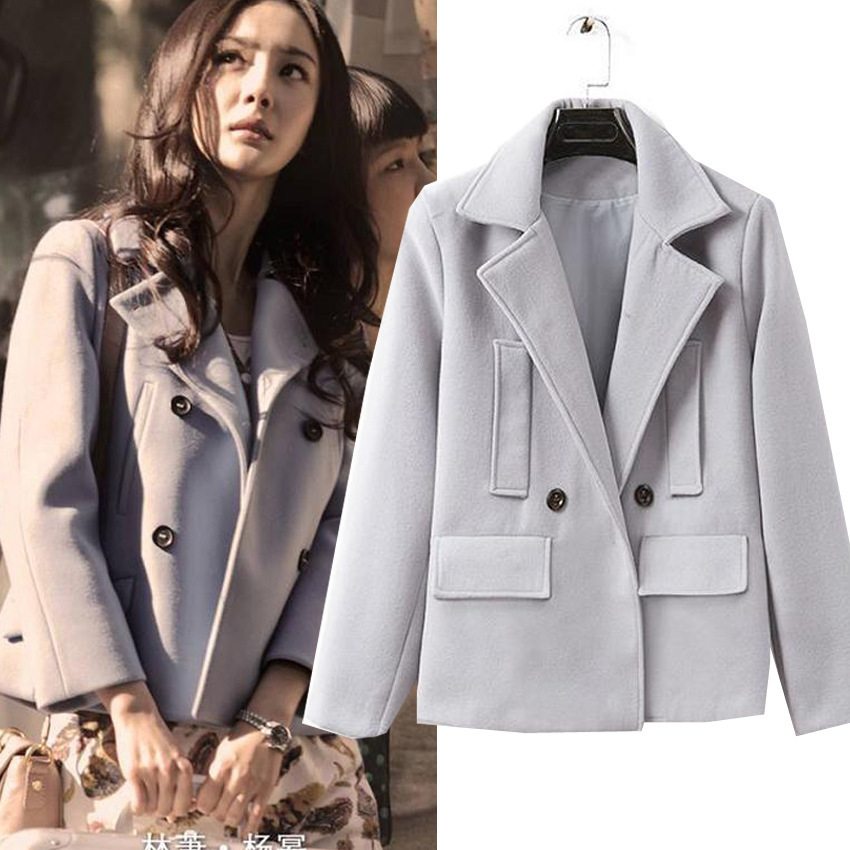 2014秋冬装新款小时代3同款毛呢大衣女 韩版修身纯色外套正品女装