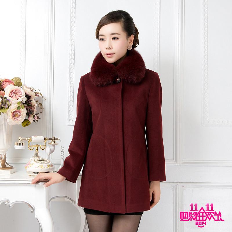 2014新款中老年女装羊绒大衣 妈妈装冬装毛呢外套 中年毛呢大衣