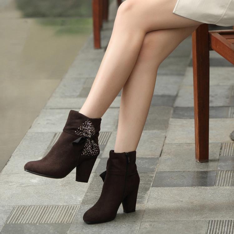 2014秋新品女靴中跟粗跟时尚舒适烫钻磨砂短靴女单靴女鞋子大小码