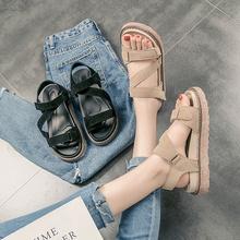 2017夏季新款韩版平底女鞋厚底罗马女士凉鞋魔术贴百搭松糕鞋学生