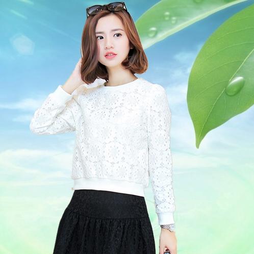 2015春装新款欧洲站百搭白色打底女式春秋雪纺衫长袖蕾丝衫女